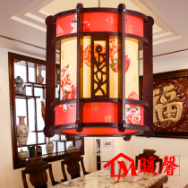 中式吊灯茶楼酒店餐厅客厅灯仿古典羊皮灯实木木艺吊灯工程灯