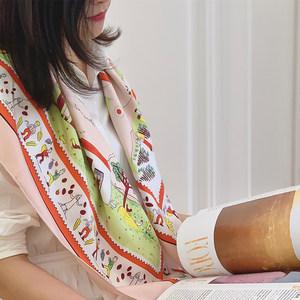【田园牧歌】童趣减龄vintage樱花粉真丝斜纹绸丝巾方巾防晒披肩