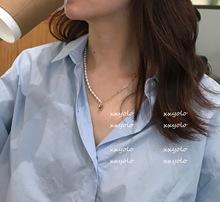 xxyolo/ 小众复古简约不对称珍珠链条爱心项链 可调节