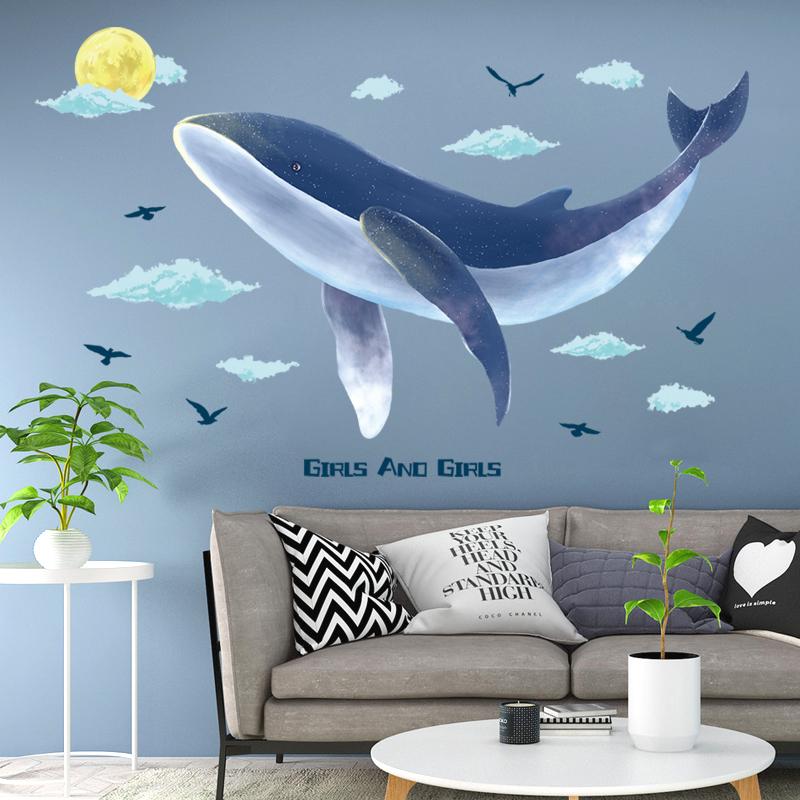 10-10新券遨游鲸鱼电视背景墙贴纸创意客厅沙发墙壁装饰卧室床头墙贴画自粘