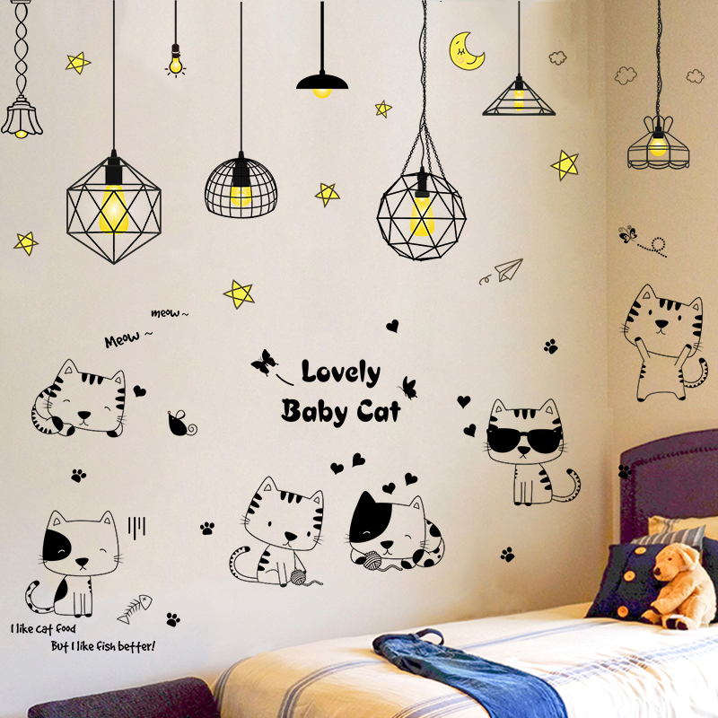 创意墙贴纸贴画卧室网红房间装饰宿舍改造床头海报纸墙壁自粘墙纸