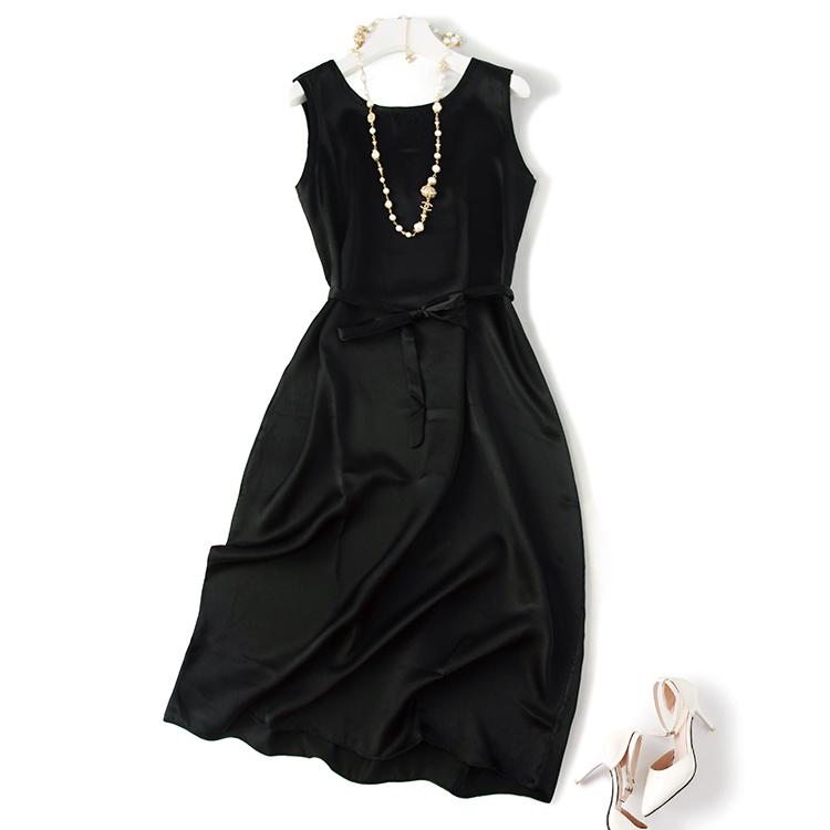 重磅真丝绸缎 桑蚕丝19姆米加厚黑色丝滑圆领无袖中长款连衣裙