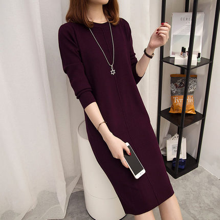 Mid length over the knee dress autumn and winter new bottoming skirt 2019 Korean loose Pullover long wool dress for women