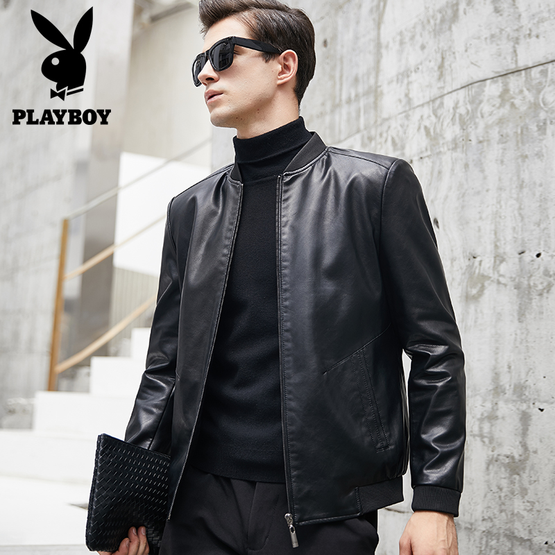 Playboy men's leathers spring and autumn slim Korean stand collar leather jacket men's motorcycle fashion