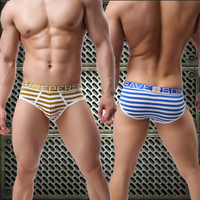 Autumn and winter mens Cotton Briefs low waist elastic slim fit striped shorts wide edge breathable comfortable sexy underwear