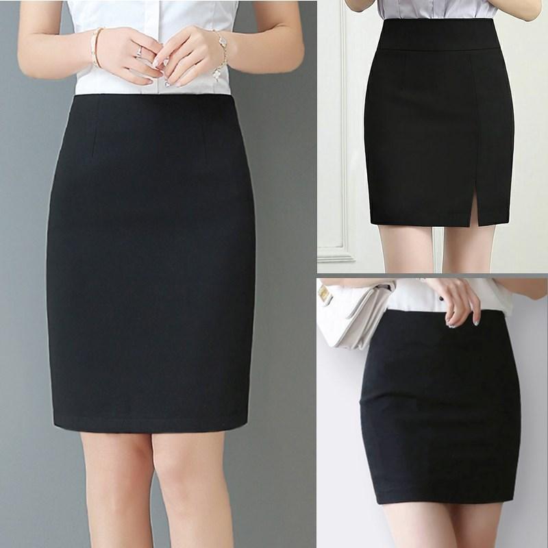 Split middle length one-step skirt work skirt black professional skirt pocket suit skirt half length skirt high waist wrap hip skirt women