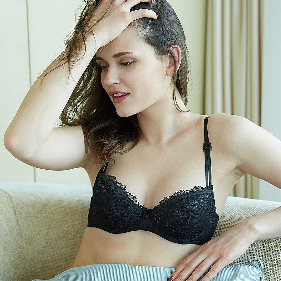 性感双肩带夏季薄款软钢圈蕾丝平胸小胸文胸 BRAGOOD布谷内衣