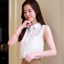 无袖衬衫女装2019夏季新款雪纺衫白领气质百搭衬衣韩版娃娃领上衣