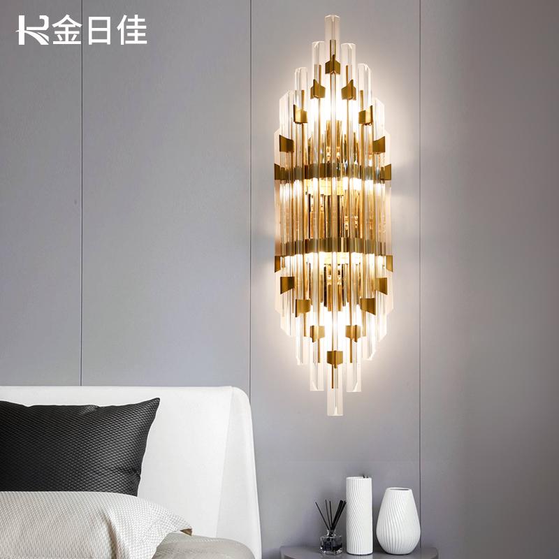 После современный простой кристалл стена свет живая дорога лестница спальня прикроватный свет модель дом телевидение фон стена нордический