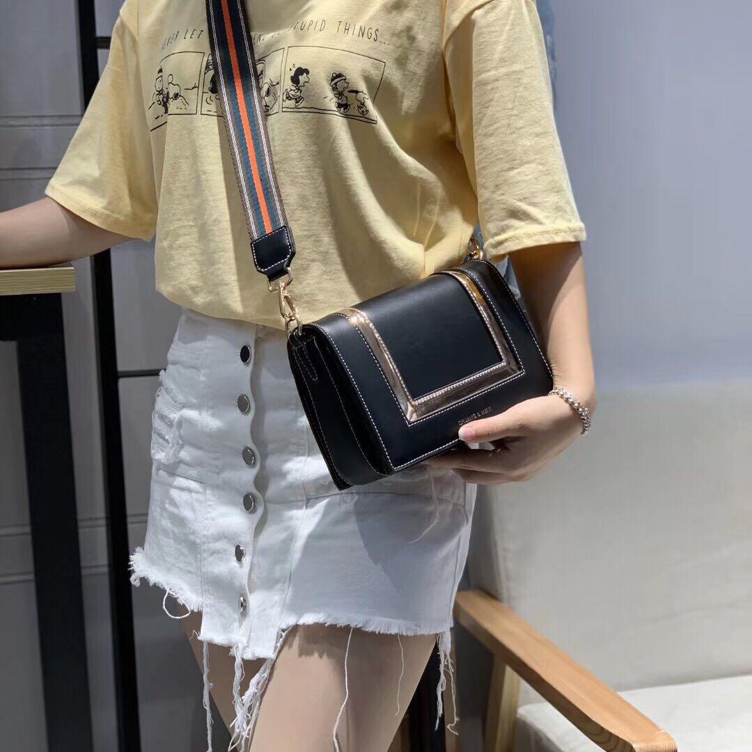 明星同款女包2019新款时尚百搭韩版小方包单肩斜挎包宽肩带手提包