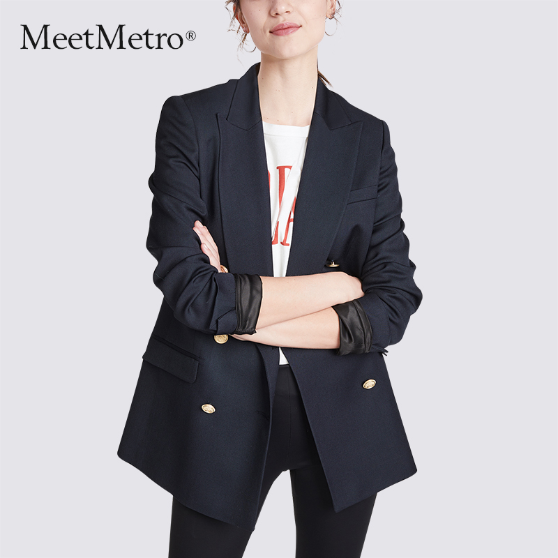 Meetmetro 2020 spring new British style suit coat women's Retro loose fashion casual small suit