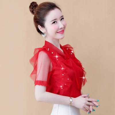 短袖雪纺衫女装夏2020新品超仙气质很仙的上衣蕾丝打底衫女士衬衫