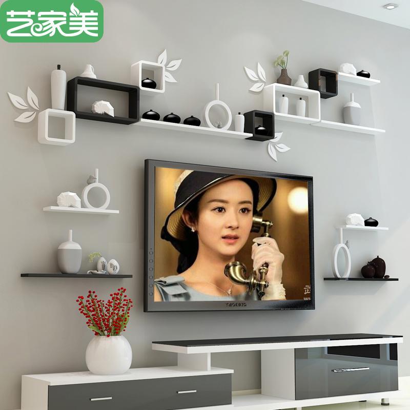 墙上置物架现代简约创意房间墙壁挂柜电视背景墙面装饰格子板客厅