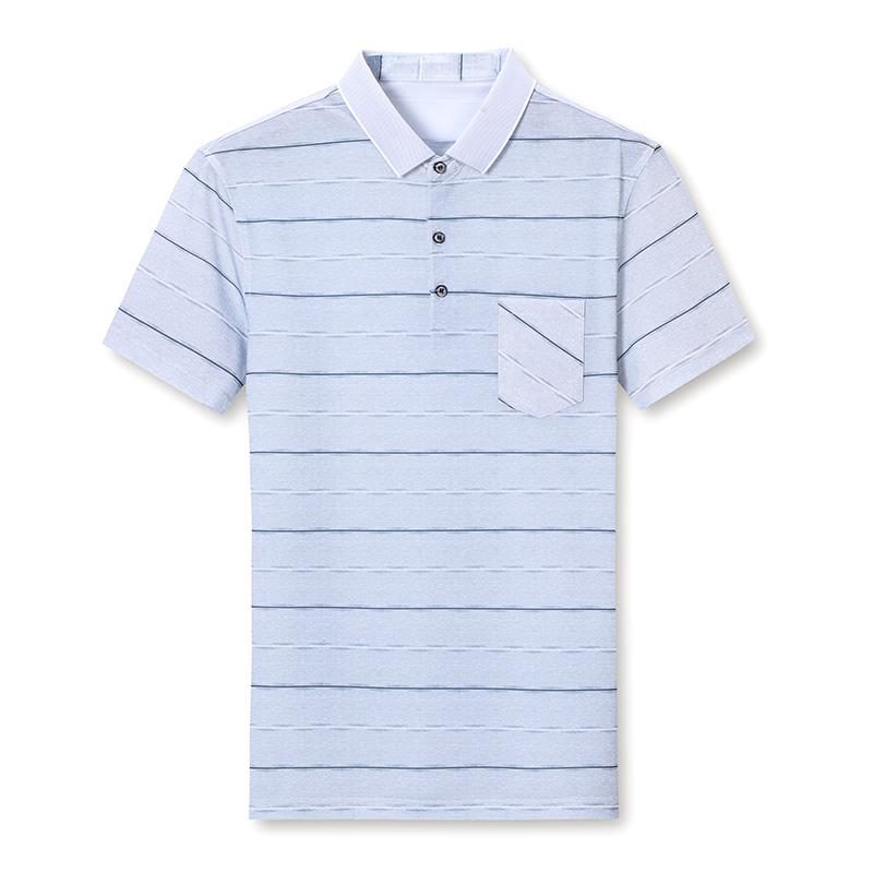 2021夏季新款中老年父亲爸爸翻领POLO衫短袖柔软舒适吸湿透气男装