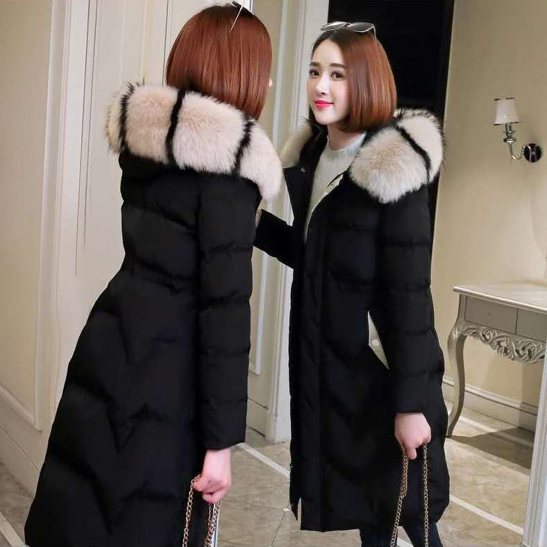 棉服女中长款过膝棉衣2021新款韩版外套收腰显瘦加厚冬季ins棉袄
