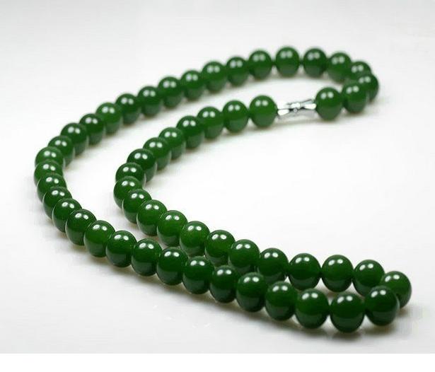 和田玉碧玉圆珠项链菠菜绿女款10mm玉石项链 链子