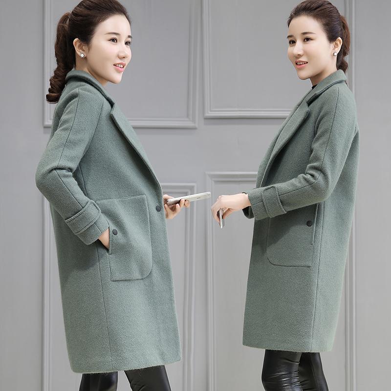 毛呢外套女秋冬季装新款修身2019韩版女士大衣中长款韩范妮子外套