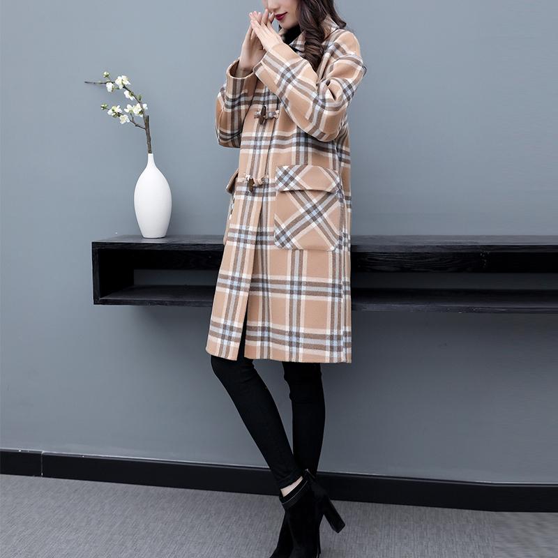 双面羊绒大衣女2019秋冬新款中长款高端时尚赫本风格子毛呢子外套