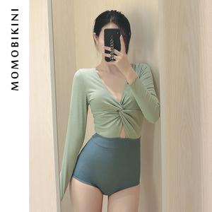 沫初见新款性感连体长袖度假泳衣女保守学生少女士显瘦泡温泉泳装