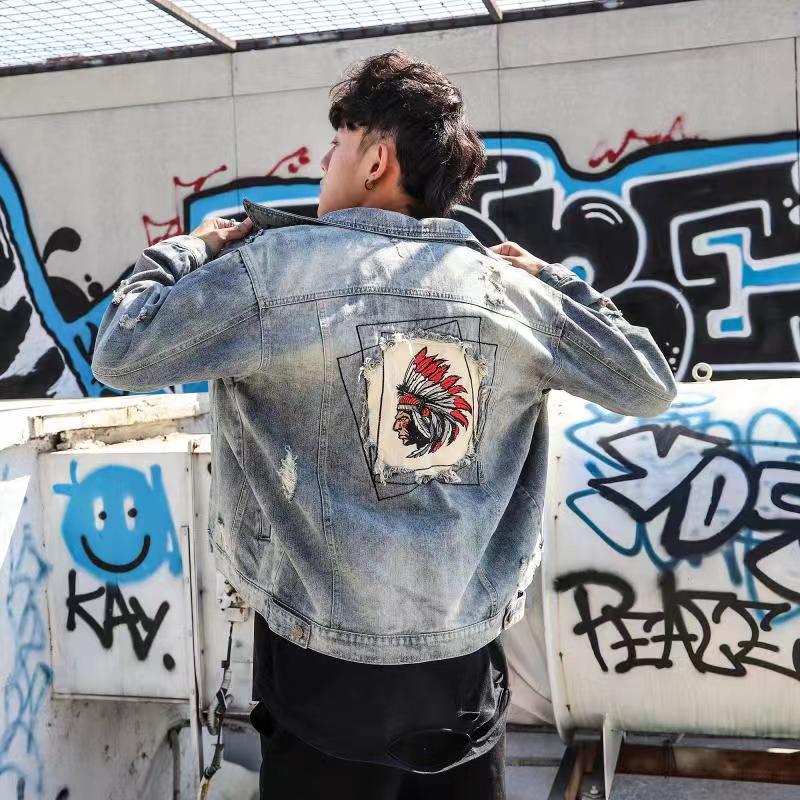 BF Harajuku style Indian embroidery trend mens slim retro Denim Jacket Top Casual Korean jacket