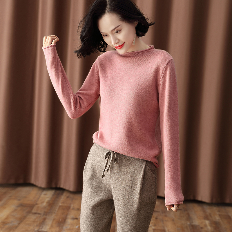 Red sweater womens 2019 new winter thickened semi high collar cashmere sweater lazy versatile semi high collar sweater top