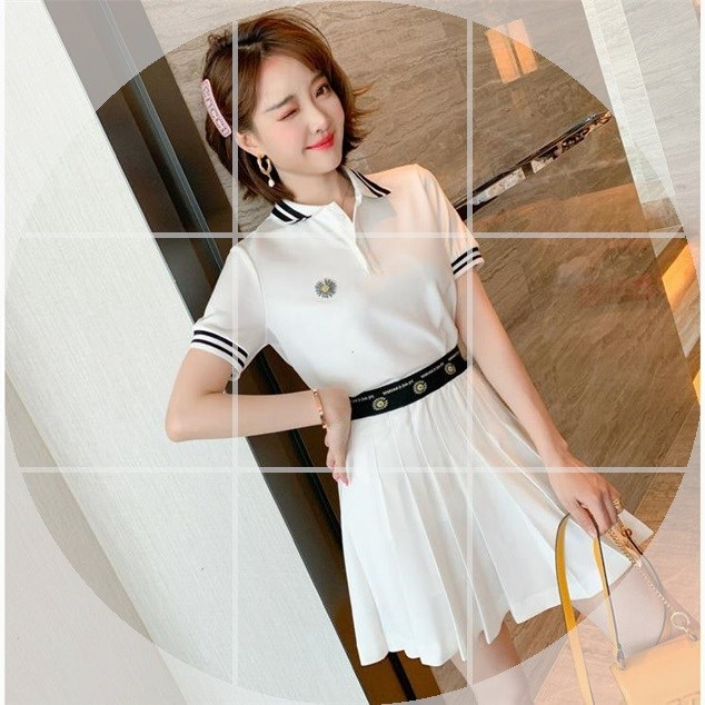 Suit college style contrast stripe Lapel stud bead Daisy Polo Top pleated skirt women summer new