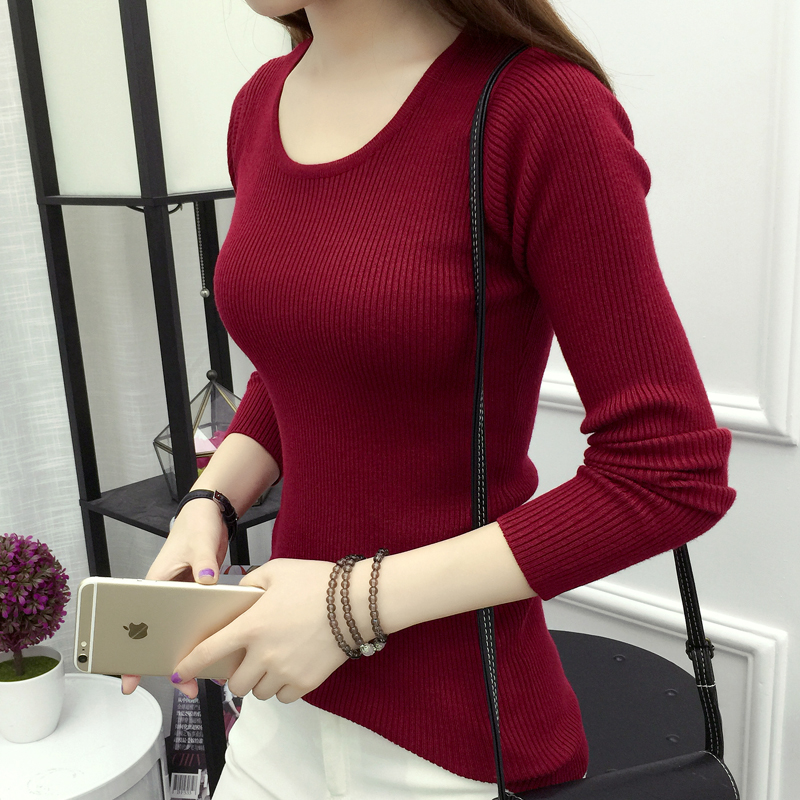 Spring and autumn versatile Korean elastic thin regular long sleeve round neck sweater bottoming knitwear womens low round neck 2019