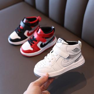 儿童板鞋小白鞋女童鞋子秋季男童高帮运动鞋宝宝小童白色篮球鞋潮