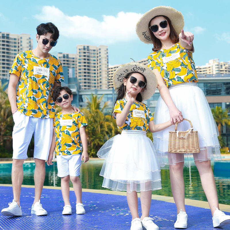 Parents and childrens dress mothers dress foreign style summer dress 2020s womens summer suit