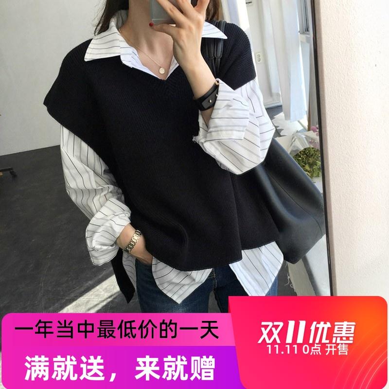 2019新款羊绒针织马甲女背心韩版宽松套头短款打底衫无袖毛衣坎肩