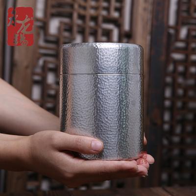 锡罐 纯锡茶叶罐大号 纯手工锤纹保鲜金属家用密封罐红茶锡器