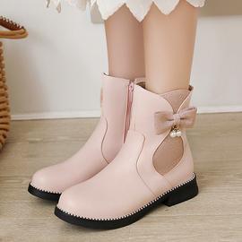 秋冬季甜美平跟短靴女童靴学生皮鞋淑女粉色防滑底小码靴子拉链靴