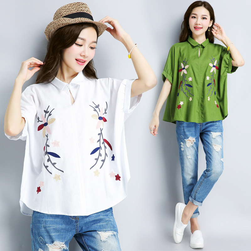 Embroidered cotton ethnic style short sleeve Chinese style retro versatile top s Hemp T-shirt spring / summer 2018 new s female