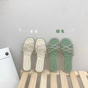 實拍實價~ 網紅拖鞋女外穿一字拖仙女帶鉆ins潮軟底綠色