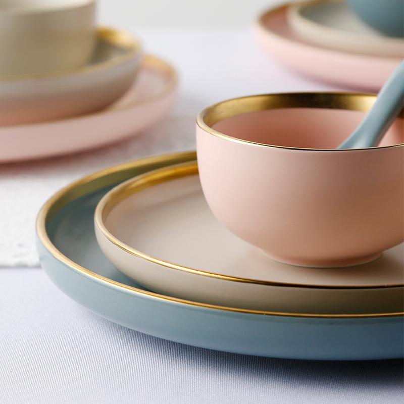 高颜值餐具套装温雅亚光陶瓷碗盘金边菜盘碟子西餐盘家用碗碟套装
