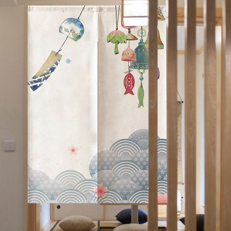 满109.00元可用79.1元优惠券日式和风日本浮世绘家用玄关装饰餐厅隔断半帘厨房定可制布艺门帘