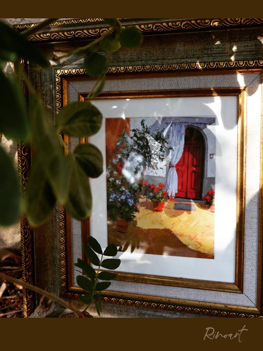 水彩復刻書房邊柜裝飾畫Boren》gardensecret《犀牛藝廊含框畫