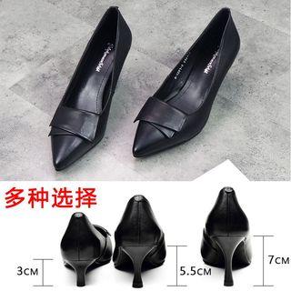 高跟鞋子2020新款春秋细跟尖头真皮黑色女鞋春季单鞋工作职业皮鞋