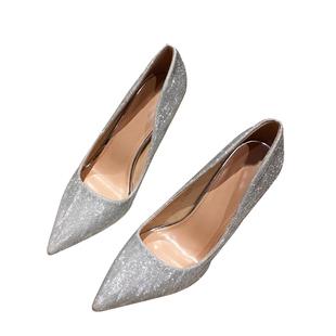 2020年夏秋季新款伴娘尖頭銀色高跟鞋女細跟性感婚紗婚鞋新娘鞋子