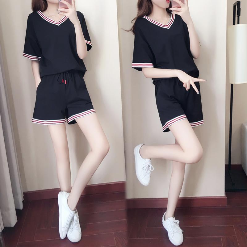 夏季运动服套装女装2018新款时尚韩版宽松V领短袖短裤休闲两件套