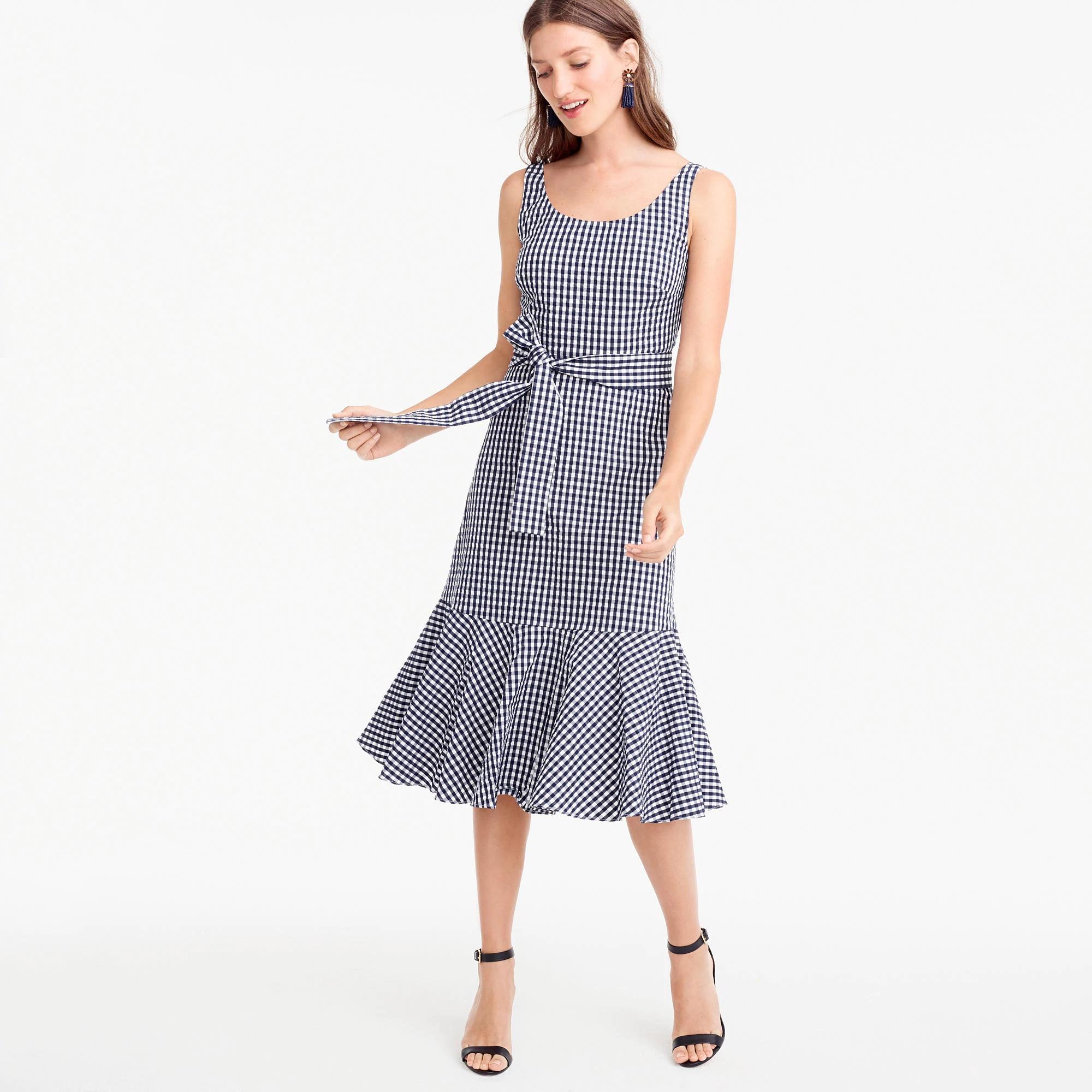 秒发 美国代购 j*crew 格子 连衣裙 Gingham ruffle-hem dress