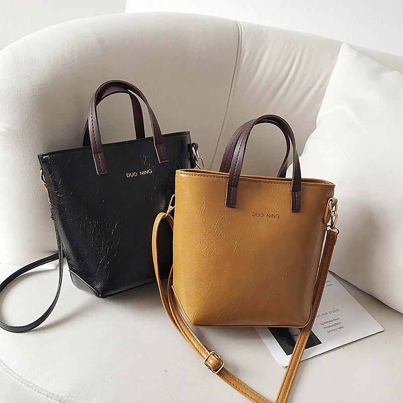 包包女包2020新款时尚复古手提水桶包法国小众包包洋气单肩斜挎包