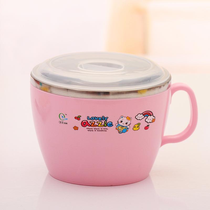 大號雙層不鏽鋼膽泡麵碗 學生泡麵杯 保溫湯碗 帶把手帶蓋杯碗