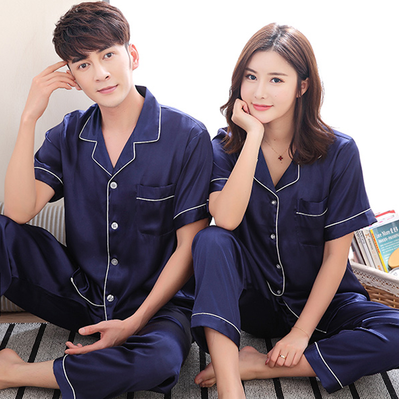 Summer silk short sleeve trousers Lapel Korean Edition youth summer ice silk woman middle aged man silk couple Pajamas Set
