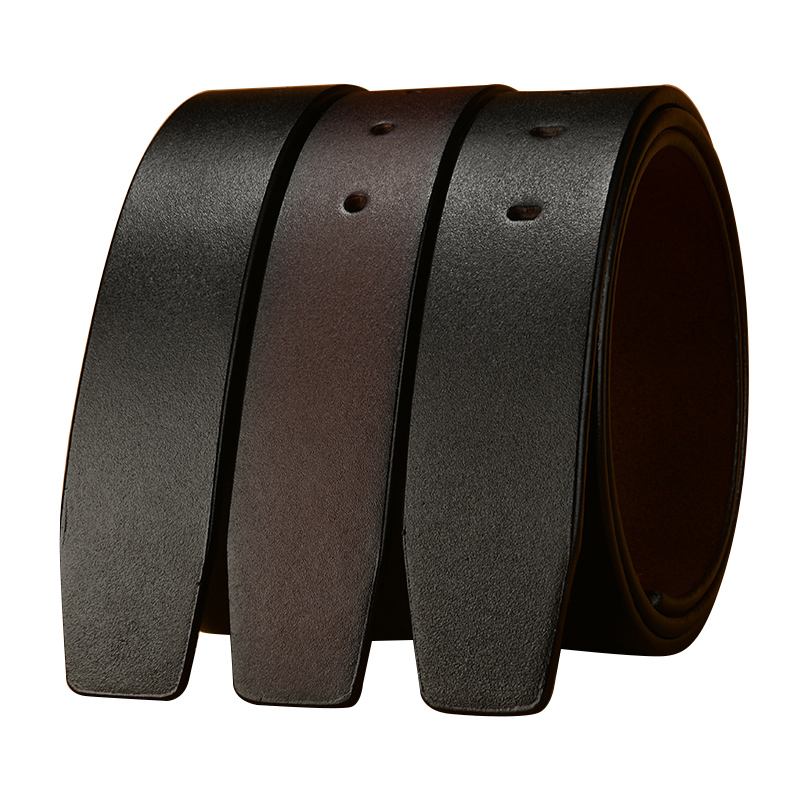 Mens leather belt leather automatic buckle headless belt body single layer leather mens and womens universal smooth buttonhole trouser belt