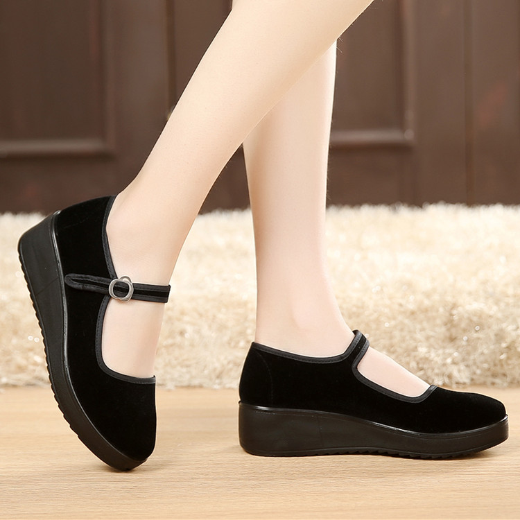 Толстая корка старый пекин ткань обувная женщина работа обувной обувь женская пинг сопровождать клинья танец обувной на высоких кабгалстук-бабочкаах обувь отели обувной
