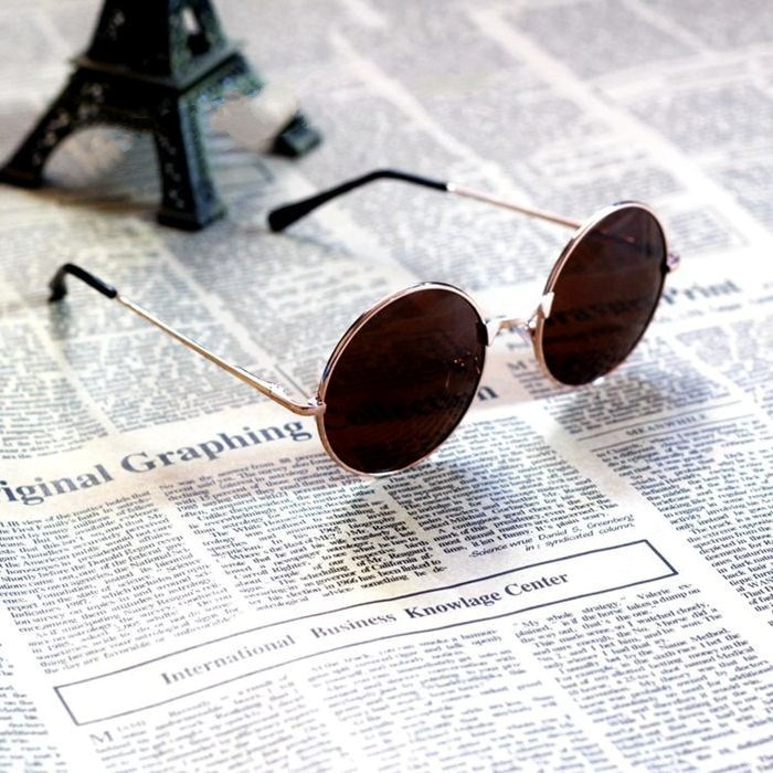 Retro round glasses Prince mirror Shanghai beach two cake glasses men and women fashion sunglasses round frame ink