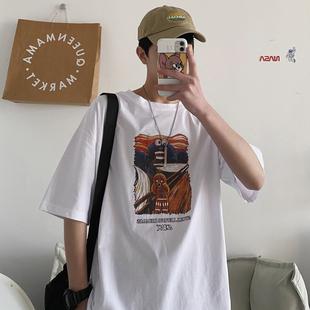 夏季纯棉宽松休闲五分袖日系男t恤