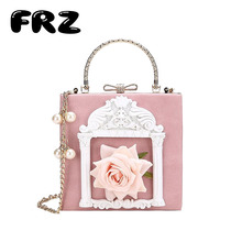 Sweet lady lady handbag lovely princess wind girl bag three-dimensional relief flower oblique lady bag