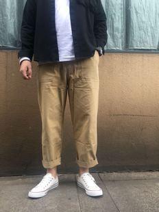 鐘文服裝店秋季九分直筒日系潮男寬松闊腿蘿卜褲純色休閑褲工裝褲
